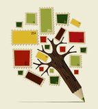 Stamp icon pencil tree concept Stock Photo