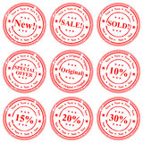 Stamp Icons. There are 9 different stamps related to sale in the illustration Stock Image