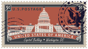 Stamp with image of US Capitol in Washington DC. Postage stamp with inscriptions and the image of the US Capitol in Washington DC. Vector illustration Capitol Royalty Free Stock Images