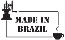 Stamp imprint for coffee industry, Made in Brazil Stock Image