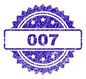 Scratched 007 Stamp Seal. 007 stamp imprint with dirty style. Blue vector rubber seal print of 007 caption with dirty texture royalty free illustration