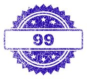 Scratched 99 Stamp Seal. 99 stamp imprint with dirty style. Blue vector rubber seal print of 99 title with grunge texture royalty free illustration