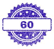 Scratched 60 Stamp Seal. 60 stamp imprint with grainy style. Blue vector rubber seal print of 60 text with scratched texture stock illustration