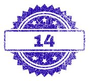 Scratched 14 Stamp Seal. 14 stamp imprint with grunge style. Blue vector rubber seal print of 14 caption with grunge texture royalty free illustration