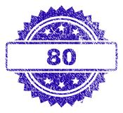 Scratched 80 Stamp Seal. 80 stamp imprint with grunge style. Blue vector rubber seal print of 80 label with corroded texture Royalty Free Stock Image