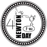 Stamp Newton Day. Stamp imprint by January 4 - Newton`s Day royalty free illustration