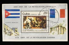The stamp issued in Cuba in 1989. In honor of the 200th anniversary of the French Revolution and the 30th anniversary of the Cuban Revolution royalty free stock images