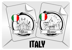Stamp of Italian cities Royalty Free Stock Images