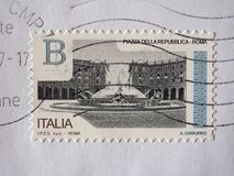 Stamp of Italy in Turin. TURIN, ITALY - CIRCA DECEMBER 2017: a class B stamp printed by Italy showing Piazza della Repubblica square in Rome Stock Photo