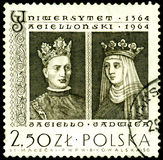 Stamp with  King Jagiello and Jadwiga Royalty Free Stock Photography