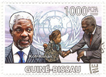 Stamp with Kofi Annan royalty free stock image