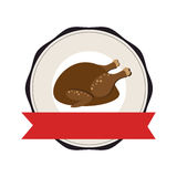 Stamp with label and colorful hot chicken roast Royalty Free Stock Image