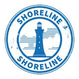 Stamp or label with Lighthouse silhouette and text Shoreline. Vector illustration Stock Images
