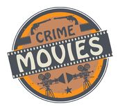 Stamp or label with text Crime Movies. Stamp or label with movie projector, filmstrip and the text Crime Movies written inside, vector illustration stock illustration