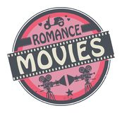 Stamp or label with text Romance Movies. Stamp or label with movie projector, filmstrip and the text Romance Movies written inside, vector illustration royalty free illustration