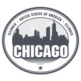 Stamp or label with name of Illinois Chicago. Stamp or label with name of Illinois, Chicago, vector illustration royalty free illustration