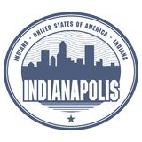 Stamp or label with name of Indianapolis, Indiana. Vector illustration Royalty Free Stock Photography