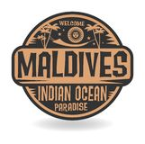 Stamp or label with the name of Maldives, Indian Ocean Stock Illustration