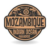 Stamp or label with the name of Mozambique, Indian Ocean Royalty Free Illustration