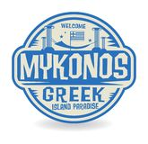 Stamp or label with the name of Mykonos, Greek Island Paradise Vector Illustration