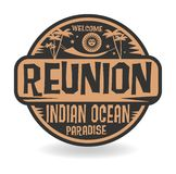 Stamp or label with the name of Reunion, Indian Ocean Vector Illustration