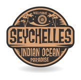 Stamp or label with the name of Seychelles, Indian Ocean Royalty Free Illustration