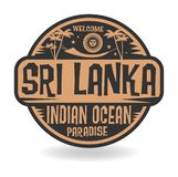 Stamp or label with the name of Sri Lanka, Indian Ocean Stock Illustration