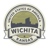 Stamp or label with name of Wichita, Kansas. USA, vector illustration Stock Photo