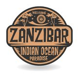Stamp or label with the name of Zanzibar, Indian Ocean Stock Illustration