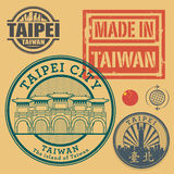 Stamp or label set with text Taipei, Taiwan Royalty Free Stock Photo
