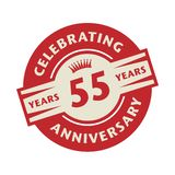Stamp or label with the text Celebrating 55 years anniversary. Vector illustration stock illustration