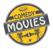 Stamp or label with text Comedy Movies. Stamp or label with movie projector, filmstrip and the text Comedy Movies written inside, vector illustration stock illustration