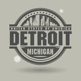 Stamp or label with text Detroit, Michigan inside vector illustration