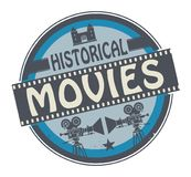 Stamp or label with text Historical Movies. Stamp or label with movie projector, filmstrip and the text Historical Movies written inside, vector illustration royalty free illustration