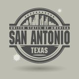 Stamp or label with text San Antonio, Texas inside. Vector illustration royalty free illustration