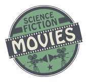Stamp or label with text Science Fiction Movies. Stamp or label with movie projector, filmstrip and the text Science Fiction Movies written inside, vector royalty free illustration