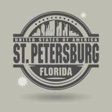 Stamp or label with text St. Petersburg, Florida inside. Vector illustration royalty free illustration