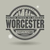 Stamp or label with text Worcester, Massachusetts inside. Vector illustration stock illustration