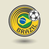 Stamp or label with word Brazil, football theme. Vector illustration Royalty Free Illustration