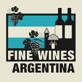 Stamp or label with words Fine Wines, Argentina. Vector illustration Royalty Free Stock Photography