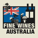 Stamp or label with words Fine Wines, Australia. Vector illustration Stock Images