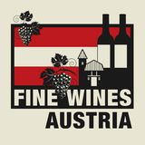 Stamp or label with words Fine Wines, Austria. Vector illustration Royalty Free Stock Photography