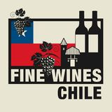 Stamp or label with words Fine Wines, Chile. Vector illustration Royalty Free Stock Photo