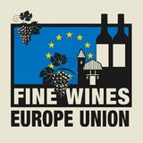 Stamp or label with words Fine Wines, Europe Union. Vector illustration Royalty Free Stock Photo