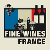 Stamp or label with words Fine Wines, France. Vector illustration Royalty Free Stock Photo