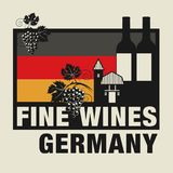Stamp or label with words Fine Wines, Germany. Vector illustration Royalty Free Stock Images