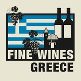 Stamp or label with words Fine Wines, Greece. Vector illustration Royalty Free Stock Photo