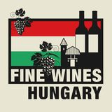Stamp or label with words Fine Wines, Hungary. Vector illustration Royalty Free Stock Photography