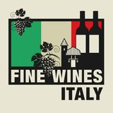Stamp or label with words Fine Wines, Italy. Vector illustration Stock Photo