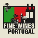 Stamp or label with words Fine Wines, Portugal. Vector illustration Royalty Free Stock Photography